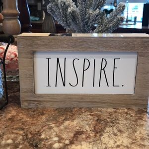 Rae Dunn INSPIRE Wood Plaque Sign NEW